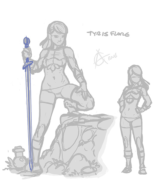 Tyris Flare rough sketch