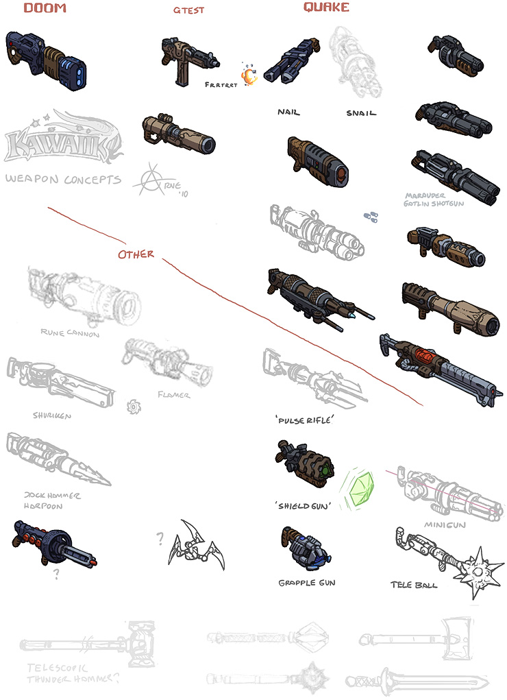 kawaiik weapon concepts, nailgun, plasma, grenade, rocket launcher, railgun
