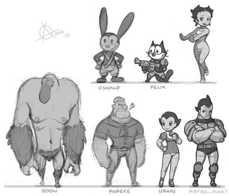 Goon, PopEye, Astroboy, Uran, Oswald, Felix and Betty Boop