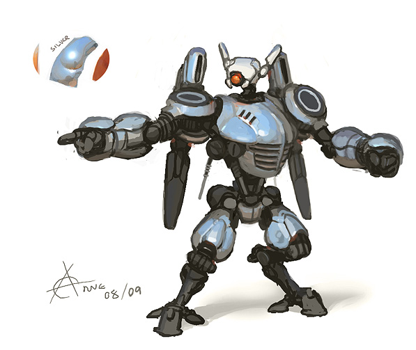 Silver battle robot