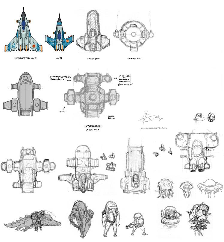 Concept art: X-COM UFO, Interceptor, Avenger