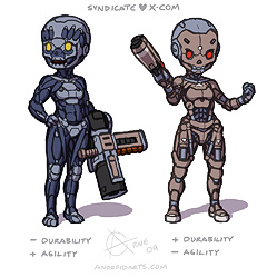 Concept art: X-COM UFO, Syndicate, Artificial muscles and a 'Terminator' endoskeleton.